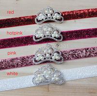 Baby Headband Crystal & Pearl Tiara Headband, baby tiara  headband 24pcs/lot