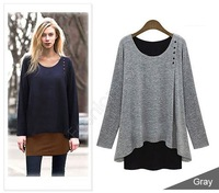 On Sale Women Fashion Korean Irregular Pullovers Shirts Women Long Sleeve Cotton Blouse Tops SV03 CB031290