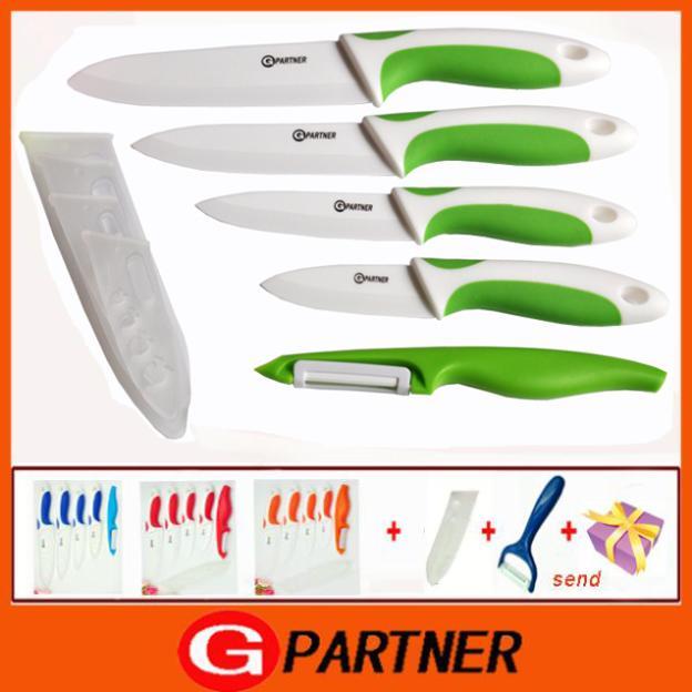 "kitchen knives 3""4""5 ""6"" in zirconia ceramic knife set + peeling machine + grater multi-color processing sheath free shipping(China (Mainland))"