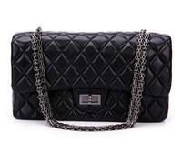 New Arrival European& American Classic plaid lady's black sheepskin leather chain bags small bag one shoulder bags handbag