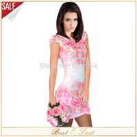 2014 New Sexy Petal Sleeve Women Summer Dress Print Flower Casual Bodycon Bandage Dress Elegant Mini Dresses Vestidos i9618