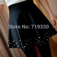 Brand New Fashion Spring Autumn Winter Women Skirts Woolen Short Casual Skirt Free Size Saia Girl PU Leather Saias Free Shipping