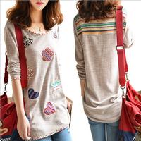 New Autumn Fashion Women Plus Size Floral T shirt Loose Female Long Sleeve Cotton Linen T-shirt Tops M-4XL 10200
