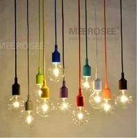 Colorful Chandelier Light E27 Socket Suspension Drop Lamp  Modern Vintage Edison Bulbs Bar Restaurant Bulb not included