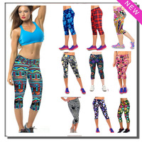 Yomsong Capri Women Leggings High Waisted Floral Printing Yoga Pants Lady's Finess Workout Casual Pants Gym 2 Sizes 11 Colors