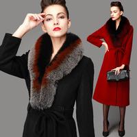 2014 new winter women ultra long Luxury large fox fur collar cashmere coat high-grade Slim wool coat brand wool outwear&overcoat