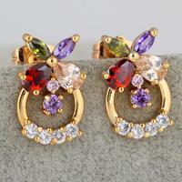 Fashion 2014  hot / new / green copper plating 18K Gold Earrings Butterfly romantic Earrings