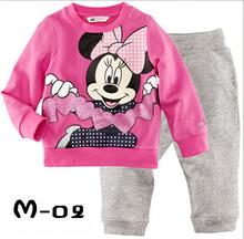 Free Shipping 2014 children clothing suit set baby girls Minnie Pyjamas suits Kids pjs pink shirts+ striped pants hello kitty(China (Mainland))