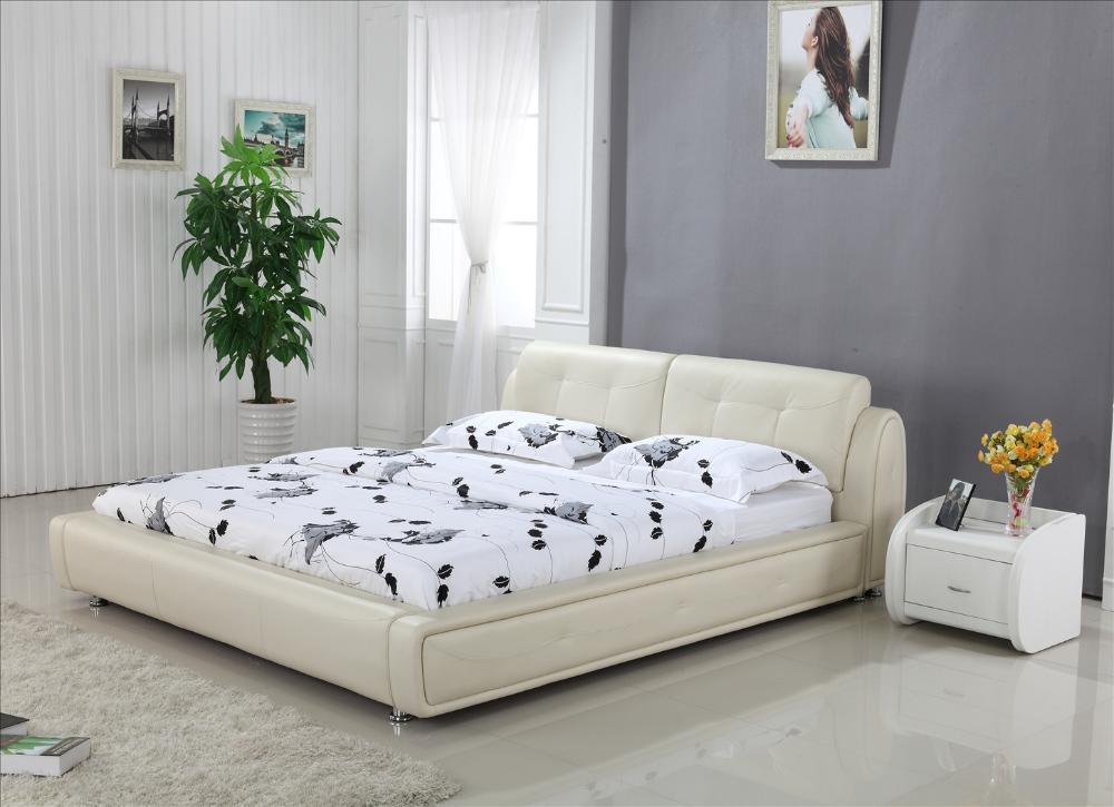 Buy high back cream top grain leather soft bed king size 1 8m modern design - Design of bed ...