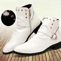 Add Wool Men Warm Ankle Boots EU 37-43 Good Quality Zipper Rivets & Buckle Design Korean Fashion Man Winter Leather Shoes