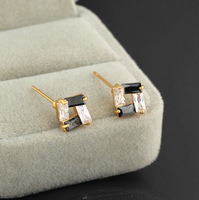 Fashion 2014 hot / new / green copper plating 18K Gold Earrings Black and white lines Earrings