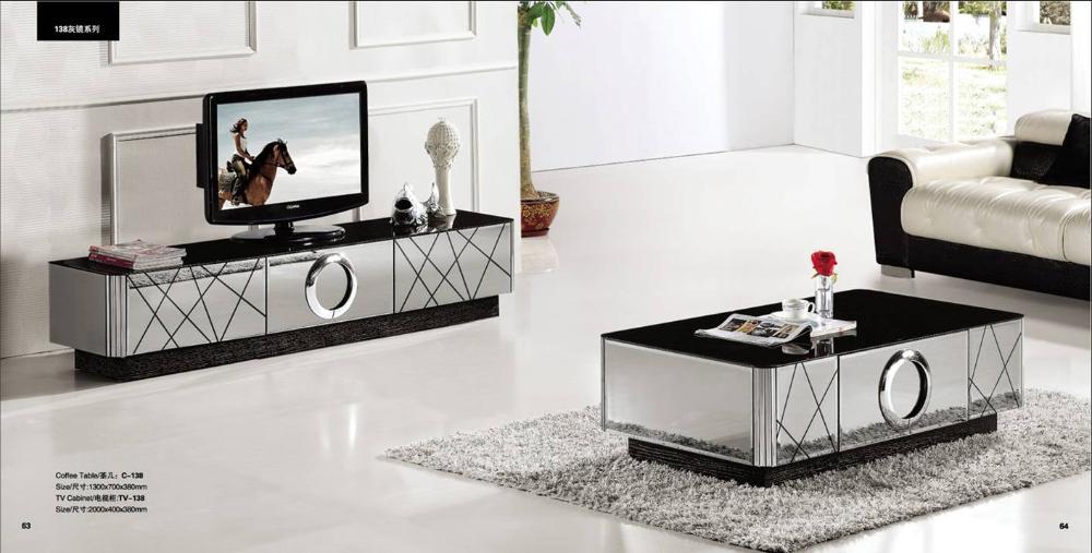 moderne grijze spiegel moderne meubels, salontafel en TV-meubel set ...