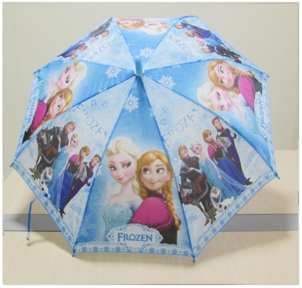 Hot Sale Cartoon Frozen Blue Long-handle Kids Umbrella Princess Elsa Width Her Friends 2014 New Free Shipping Children Umbrella(China (Mainland))