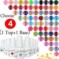 Top+ Base +4 PCS UV Gel By Selina Cosmetics 146 Colors UV Gel Nail Polish Long-lastting Shellac up to 40 Days  15ml 0.5oz