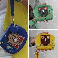 3 Colors Fashion Pu Leather Women Zipper Purse Wallet Handbag Owl Printed Double Zipper Leather Wallets Gift Purse Sv18 Cb031754