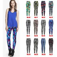 YOMSONG Fashion Floral Printing Leggings Ladies Pants Flower Leggings Women Fashion Pants & Capris Stretch Legging 45 Colors