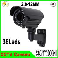 "1/3"" Sony Effio-e CCD 700TVL camera with 36pcs IR leds 2.8-12mm lens waterproof Outdoor CCTV Camera"