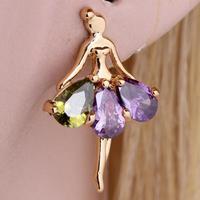 2014 Women Butterfly Resin RhinestoneTeardrop Acrylic Pear Retro Copper Hook Crystal  Earrings