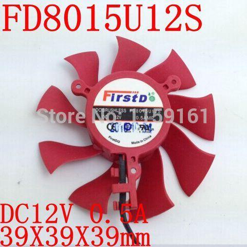 Free Shipping Firstd FD8015U12S DC BRUSHLESS FAN 12V 0.5A 75mm 39x39x39mm Graphics/Video Card Fan 2Pin(China (Mainland))