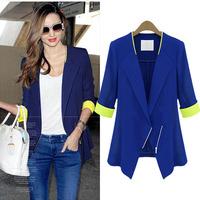 2014 New Fashion Plus Size Blazers Women Blue No Collar Half-Sleeve Thin Chiffon Blazer Casual Womens Cardigan Jackets
