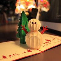 3D Christmas Tree & Snowman Handmade Creative Kirigami & Origami Pop UP Christmas Card Free Shipping(set of 10)