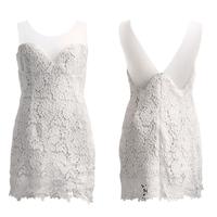 2015 New Women Summer Dress Vintage White Lace Party Dress desigual Strapless Floral Bodycon Dress Vestidos de festa Femininos
