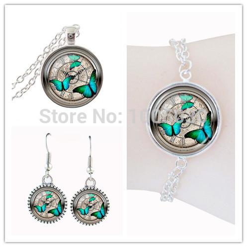 new arrival Steampunk clock Turquoise butterfly dubai jewelry sets clock art photo zinc alloy fashion costume jewelryset(China (Mainland))