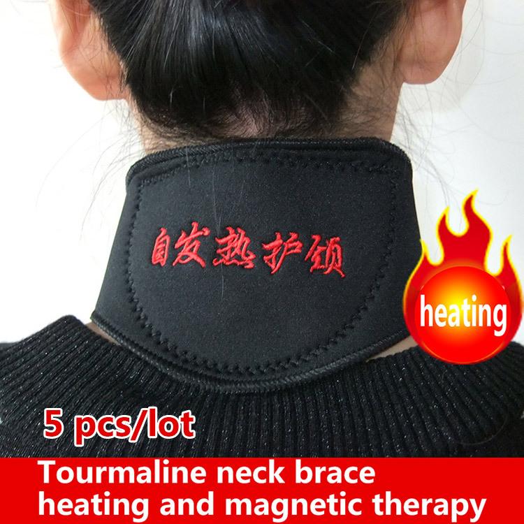 5 pcs neck brace Magnetic Therapy massager cervical vertebra Protection Spontaneous Heating tourmaline Headache Belt neck brace(China (Mainland))