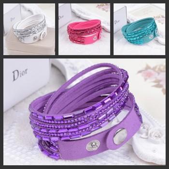 2014 продавать 12 слой кожа браслет многоцветный браслеты браслеты для женщины кнопки ...