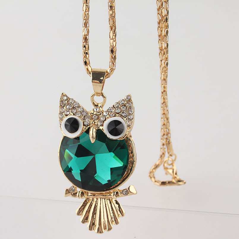 2014 Hot Sales Colorful 18k Gold Plated Austrian Crystal Owl Pendant Necklace Sweater Chain For Women Free Shipping Wholesale(China (Mainland))