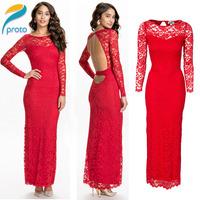 Vestidos Femininos Sexy Bodycon Bandage Red 2014 New Embroidery Vintage Pencil Dress Long Maxi Elegant Party Dresses HW0226