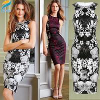 2014 New Vestidos De Festa Aummer Floral Printed Flower Women Dress Midi Bodycon Bandage Party Dress Casual Dresses HW0229