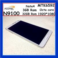 Original Note4 MTK6592 Phone 2.3Ghz 3GB Ram 32GB Rom N9100 Phone Octa core 13MP smartphones Real 1920*1080 Mobile Phone