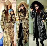 New Designer 2014 winter jacket women Fur Collar Winter coat women With Hood Slim Cotton Padded Parka Warm Camouflage Down Coat