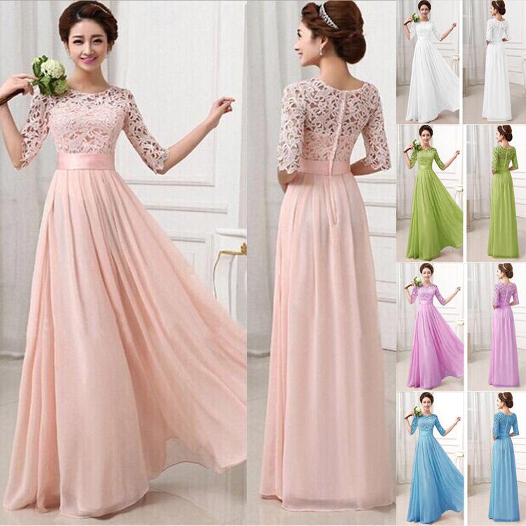 New De Renda Longo Women Long Dress Wedding Party Bridal Gowns 2015