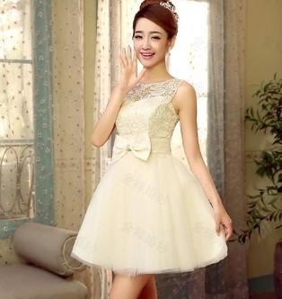 Принцесса стиль 2015 элегантный короткие дизайн свет шампанское повязку особых поводов платье для выпускного вечера свадебное и ну вечеринку бесплатная доставка