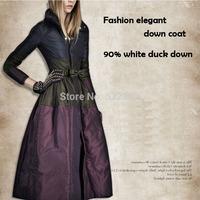 2014 winter new womans fashion Stand collar skirt hem warm down parkas ladies ultra long slim down coats&jackets