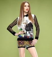 blusas femininas 2014 casual Tops Printed Women Clothing T Shirt Chiffon Blouses Blusas Long Sleeve Fashion Patchwork B16