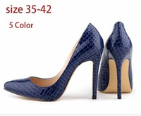 New 2014 Fashion Sexy Skin Red Black Crocodile Loyal Blue High Heels Shoes for Women Plus Size 35-42 Wholesale