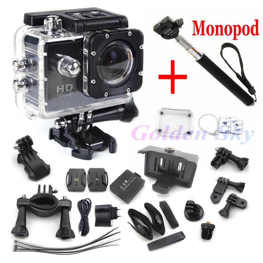 mini camcorders gopro hero 3 Full HD DVR SJ4000 video Sport go pro camera extreme Sport Helmet Action Camera+monopod(China (Mainland))