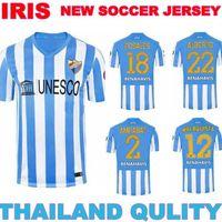2015 MALAGA JERSEY best quality 14 15 malaga home white blue soccer jersey MALAGUISTA 12 jerseys malaga can custom