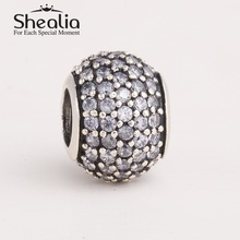 2014 new pave rhinestone ball charm beads authentic 925 sterling silver jewelry findings fits pandora style