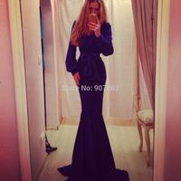 2014 Hot Selling Long Sleeve Elegant Floor Length Beach Party dress