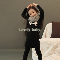 New Brand Long Sleeve children Cotton Girl T Shirt Kids Tops Autumn Spring Cotton Casual Printed Bowtie basic Free Shipping B16