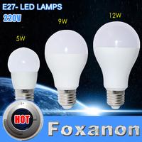 Foxanon Brand 2015 New E27 220V Led Light Bubble Ball Bulb 5W 9W 12W 5730 3528 Corn Lamps Super bright eye care Lighting 1pcs