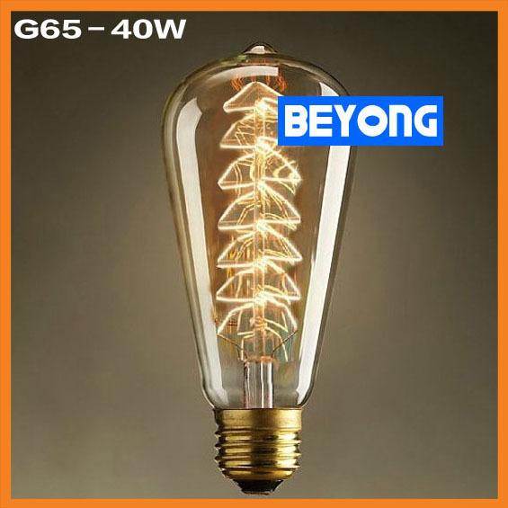 Incandescent Antique Bulb 40W 220V Retro Edison Art Decoration G64 Light Bulb E27 Antique lamps Bulbs Wholesale Price(China (Mainland))