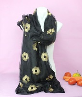 NEW !!! Perfect double stitching process,Cotton + yarn The double larger scarves,Suzhou embroidery scarf in China