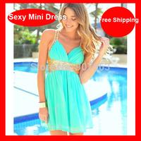 Free Shipping !!!  Hot Selling Sequined Chiffon Beach Dress Low Cut Backless Mini Dress Women