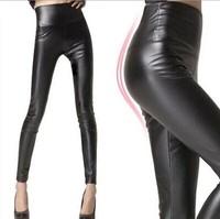 2014 New Women Faux Leather Legging Fashion High-waist Stretch Material Pencil Pants Black Footless Leggings S/M/L/XL/ XXL