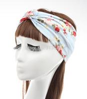 Retail free shipping hair accessories turban headband hair band boutique hair bows printing flower accessorios